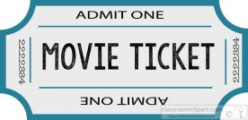 movie ticket blue admit one clipart