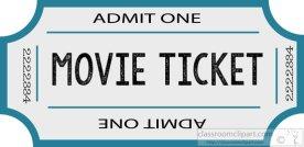 movie ticket blue admit one clipart